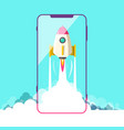 rocket launch with smartphone symbol vector image vector image