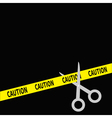 Scissors cut caution ribbon on the right Flat desi vector image