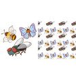 seamless background design with butterfly and bee vector image