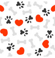 seamless pattern i love dog theme bone and foot vector image vector image