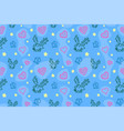 seamless pattern with deers and hearts vector image