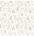 seamless pattern with hand drawn christmas trees vector image vector image