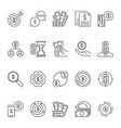 set dollar money outline icons or vector image vector image