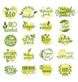 set of isolated bio product logo vegetarian food vector image