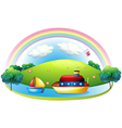 Ships near an island with a rainbow vector image vector image