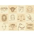 Sketch zodiac signs in vintage style vector image vector image