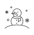 snowman outline icon winter and christmas theme vector image vector image