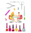 spa salon manicure manicurist and tools set vector image vector image