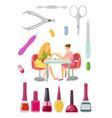 spa salon manicure manicurist and tools set vector image
