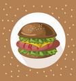 tasty american hamburger logo background vector image