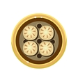 Tasty Homemade Pie Decorated with Cookies Served vector image
