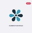 two color flower six petals from japan icon vector image vector image