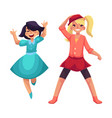 two girls dancing at party blue dress skirt and vector image vector image