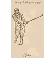 Vintage golf and golfers - freehand into vector image vector image