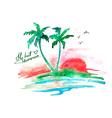 Watercolor tropical island vector image vector image