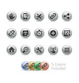 web and mobile icons 10 - metal round series vector image vector image