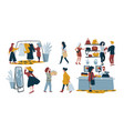 women shopping isolated characters fashion vector image vector image