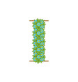 wooden leaves letter i vector image vector image