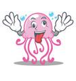 crazy cute jellyfish character cartoon vector image