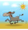 cartoon a donkey is running in the sand vector image