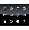 Help and FAQ icons on black background vector image