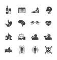 alcoholism icons set flat design vector image vector image