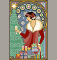 art nouveau card winter santa girl with champagne vector image vector image