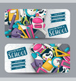 back to school concept horizontal banner template vector image