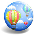 Balloons on blue badge vector image vector image