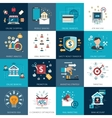 Banking marketing concept flat icons set vector image vector image