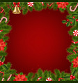 border fir tree branches with poinsettia vector image vector image