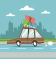 car with packages city background vector image