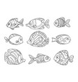 cartoon sea fishes set outlined for coloring page vector image vector image