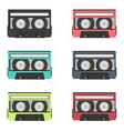 collection of retro audio tapes isolated on white vector image