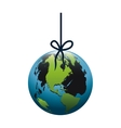 colorful silhouette with world hanging on rope and