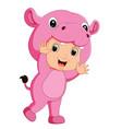 cute boy cartoon wearing hippopotamus costume vector image vector image