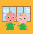 cute twins vector image vector image