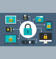 digital device security concept background flat vector image