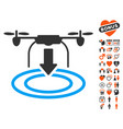 drone landing icon with lovely bonus vector image vector image