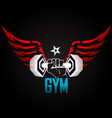 dumbbell in hand with wings vector image vector image