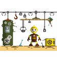 factory interior robot with machines vector image vector image