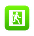 fire exit sign icon digital green vector image
