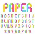 Folded Color Paper Font vector image
