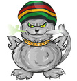 fun jamaican angry cat vector image vector image