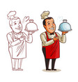 funny chef cook with tray in hand restaurant vector image