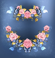 Garland of Pink Roses vector image vector image