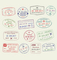 icons of city passport stamps world travel vector image vector image