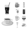 isolated object of drink and bar icon collection vector image vector image