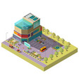 isometric shopping center with parking area vector image vector image