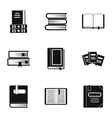 Library icons set simple style vector image